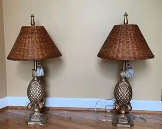 Pr of Resin and Painted Pineapple Lamps w Wicker Shades $85