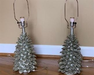 Pr of Silver Painted Pinecone Lamps, no shades $40