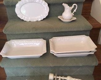 Ivory Ceramic Oven Proof Covered Casserole $15; Crown Decorated Platter $10; Grape Decorated Pitcher and Undertray $8; Pair Ivory Metal Sconces, non electrified $22