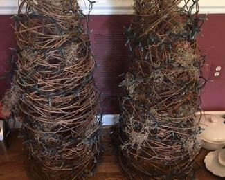 Pair of Tall Grapevine Topiaries, need new lights $40