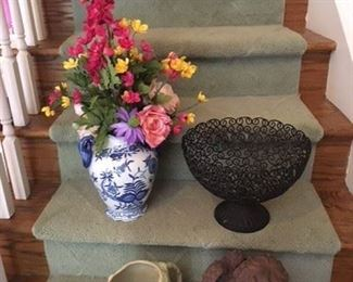 Blue and White Vase w Flowers $16; Metal Decorative Swirly Bowl $14; Vintage Japanese Ceramic Pitcher$14 ; Garden Angel Reading, small loss to foot $14