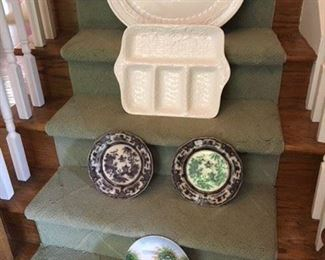 Portuguese Oval Platter $15; Basketweave Serving Tray $15; Pair of Black and White Antique Plates $35; Sweet Italian Covered Box $12; Japanese Decorated Plate $8