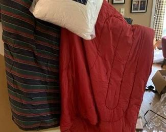 Mint Condition LL Bean Maroon King Comforter ; Ralph Lauren Striped King Comforter ; 2 New Pure Comfort Gel Memory Foam Pillows (ALL for $50)
