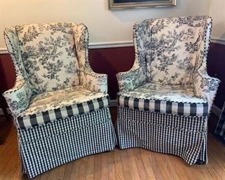 Pair of Slip Covered Hickory Chair Wing Chairs, excellent condition $295