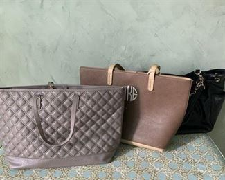 BCBG Taupe Quilted Bag $15; Monogrammed Tote $15; Black Ann Klein $15