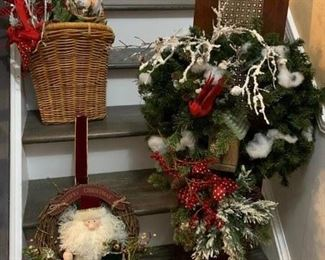Hanging Basket w Christmas Garland $10 ; Hanging Plaque from Antique Wood Decorated w Bird House & Christmas Sprigs $25 ; Santa Grape Vine Wreath w Hanger $10