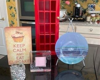 """Keep Plaque"" $4; Wedgwood Glass Plate, Box $14; Waterford Etched Frame $10; S/2 Pewter and Glass Grapevine Votive Holders $16"