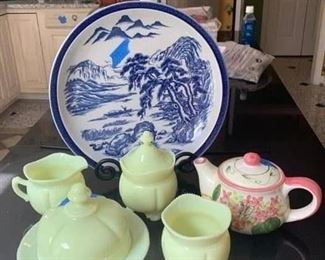 Blue & White Charger & Stand $40 ; Pink & Green Teapot $15 ; 4 Pieces of Antique Butter Glass $45