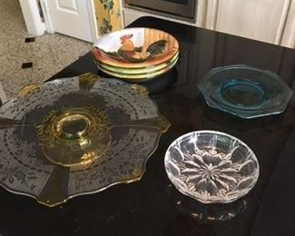 3 Chicken Plates $10; Etched Cakeplate $15; Two Assorted Glass Plates $10