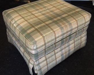 Plaid Upholstered Ottoman on Casters $35