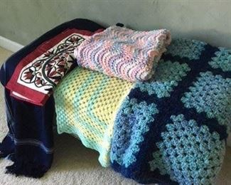 Large Handmade Afghan Blanket $25; Two Handmade Baby Blankets $20; Blue Wool Throw and Quilted Sham $20
