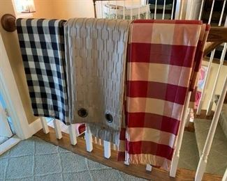 Pair of Black Check Curtain Panels $18; Pair of Taupe Polyester Grommet Curtains (just dry cleaned) $35; Pair of Silk Brick and Gold Check Curtain Panel (just dry cleaned) $100
