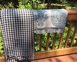 3 pairs of black check curtain panels $45; Pottery Barn shower curtain $12
