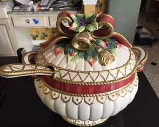 Fitz and Floyd holiday tureen and ladle, boxed $45