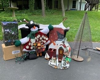 Christmas lot with 2 outdoor laser lights, Advent snowman, slate hand painted snowman sign, metal holiday tree and assorted ornaments $32