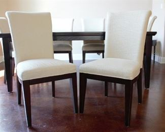 Dining table with leaf and 6 upholstered armless matching chairs (53.75w x 78.25l with leaf x 3.75h); leaf is 24""