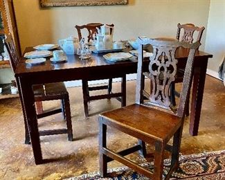 Four 18th century Continental Chippendale style side/dining chairs