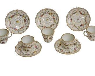 1. Five 5 Dresden Tea Cups and Saucers