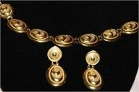 18k Gold Italy Bracelet with Matching Earrings.  Lot #104