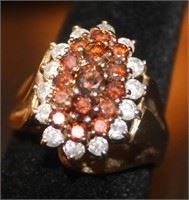 Red Diamond and Sapphire Ring Size 7.75         Lot #604