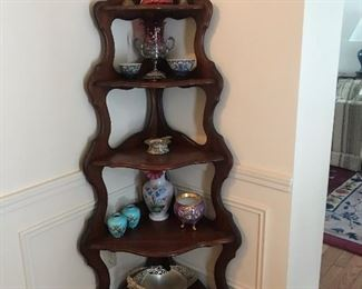 Mahogany 5 tier corner shelf