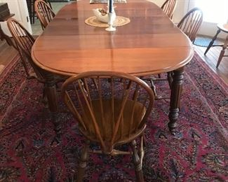 Beautiful cherry antique dining table and 8 Windsor maple chairs