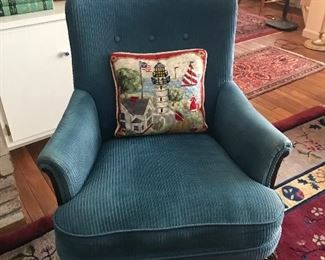 Upholstered corduroy antique chair
