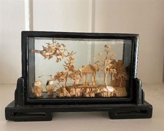 Vintage Chinese carved cork scene in glass display case