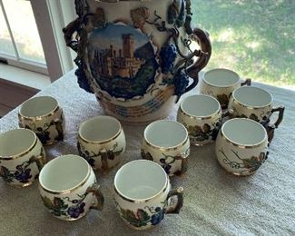Antique German soup tureen and beer mugs