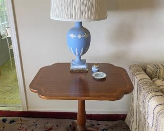 Wedgwood lamp, lighter and ashtray on antique Sheraton  mahogany side table