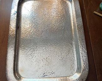 Hammered silver plate tray