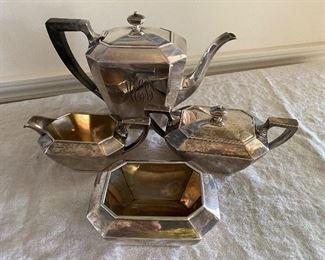 Sterling coffee pot, creamer, sugar set