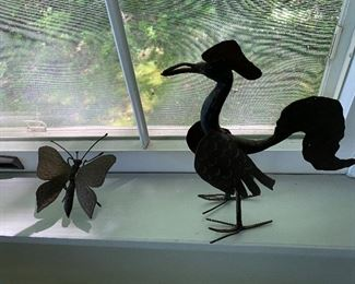 Wrought iron butterfly and rooster