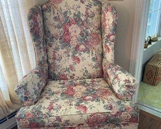 Floral wing back chair