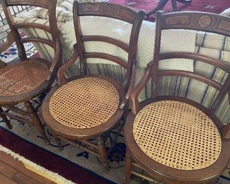 4 antique cane seat chairs