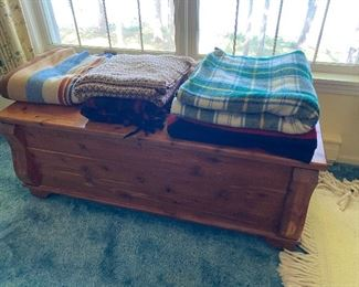 Cedar chest and vintage wool blankets