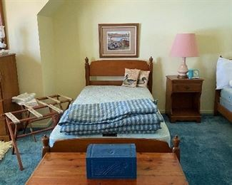 Pair of maple twin beds and cedar chests