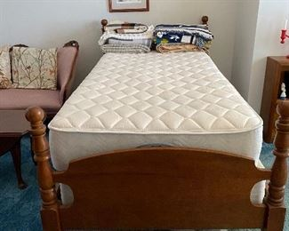 Pair of matching maple twin beds, includes mattress and boxsprings