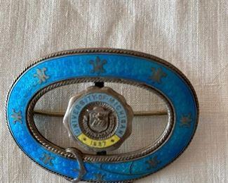 Antique enameled University of Michigan brooch