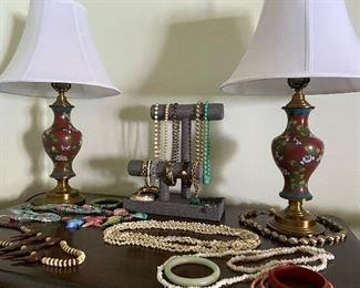 Cloisonné lamps and vintage jewelry