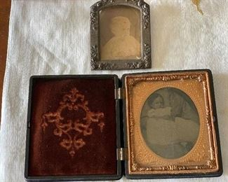 Antique tintype in beautifully carved frame