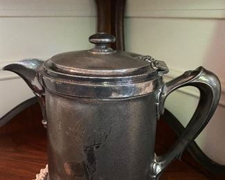 Antique silver plate coffee pot with etched silver elk