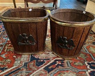 Vintage wood eagle trashcans