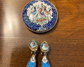 Persian enamel hand painted drop clip and pendant