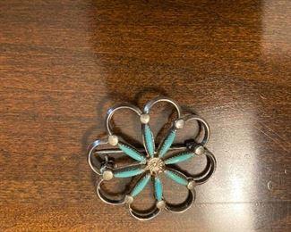 Norbert Haskie Zuni Sterling turquoise brooch