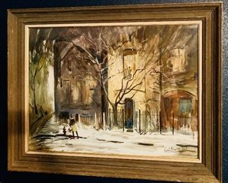 Earl Gross painting of Old Town Chicago