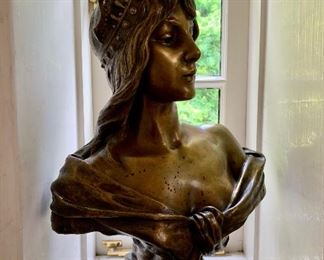 "$1895 Emmanuel Villanis ""Favorite"" (French 1858-1914) Cast Bronze Figural 23""H x 14.5""W"