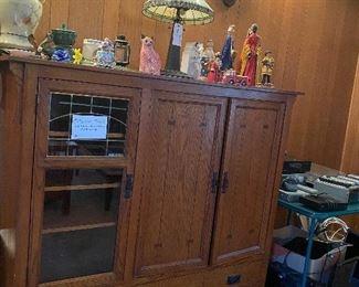 Mission oak entertainment center $75