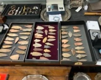 Trays of old Arrowheads  authentic