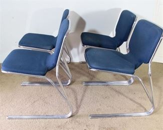 MID-CENTURY SET OF 4 DECO BLUE METAL ACCENT /DINING ROOM / OFFICE CHAIRS VINTAGE